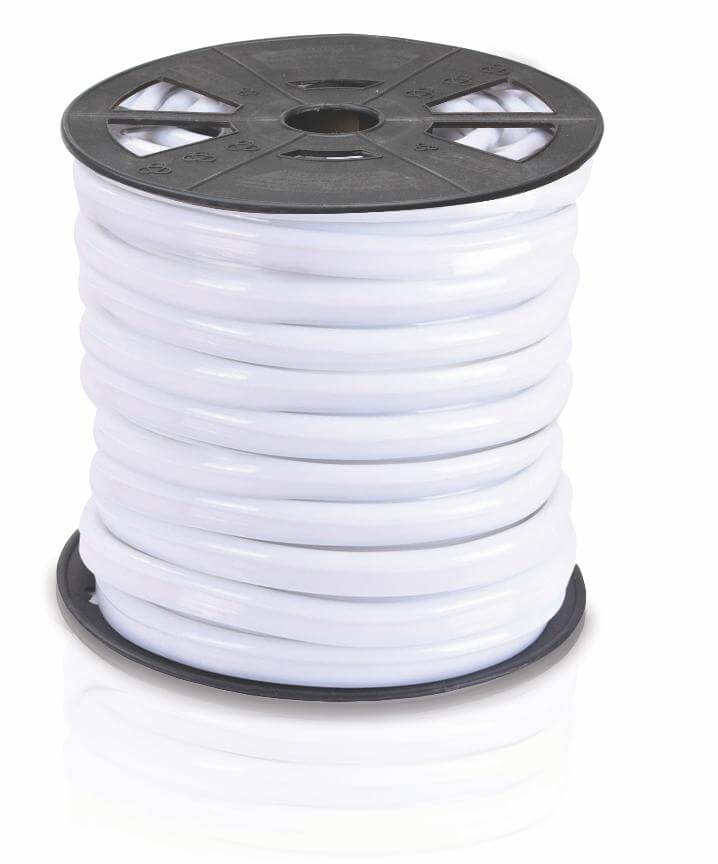 Lumilum white cover LED neon rope light coiled on black reel.