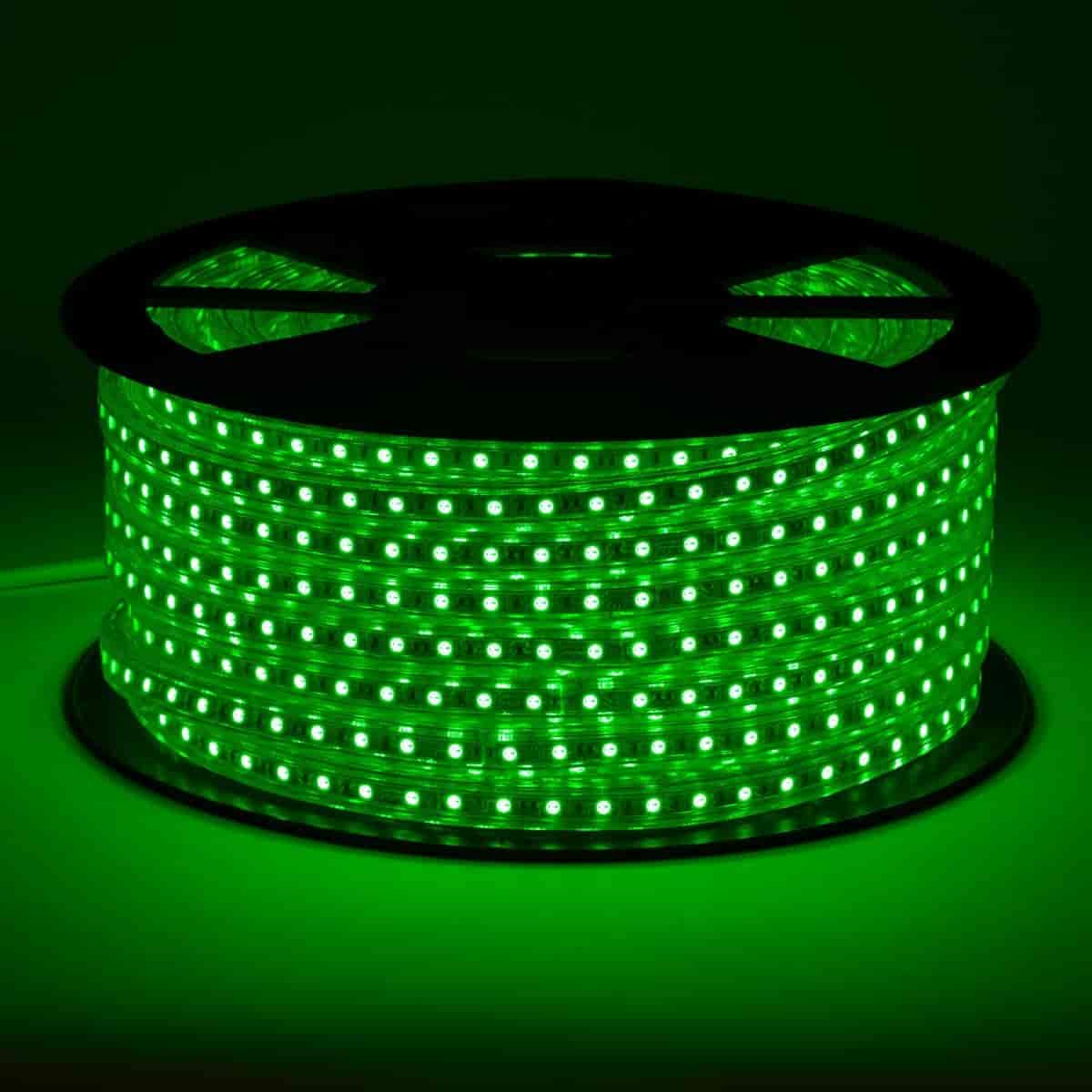 green led strip light on black reel displaying vivid light in intense green color