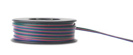 4 conductor wire in red green blue black wound around black spool