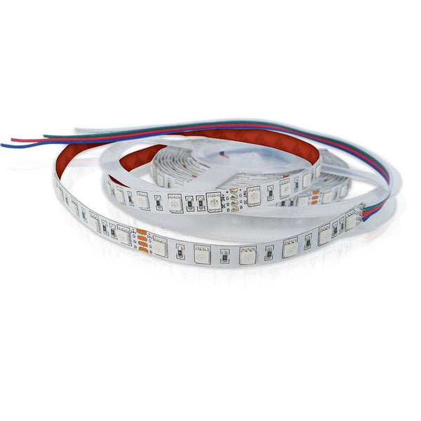 loosely coiled led strip light with white chips, red backing, and exposed wire
