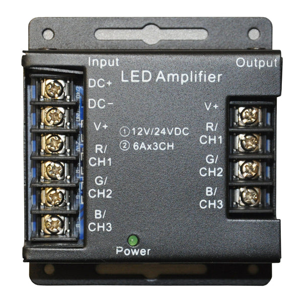 black led amplifier with 10 ports, input side on left and output on right side