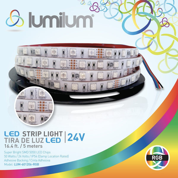 lumilum brand led strip light multicolor packaging. strip light image with white led chips