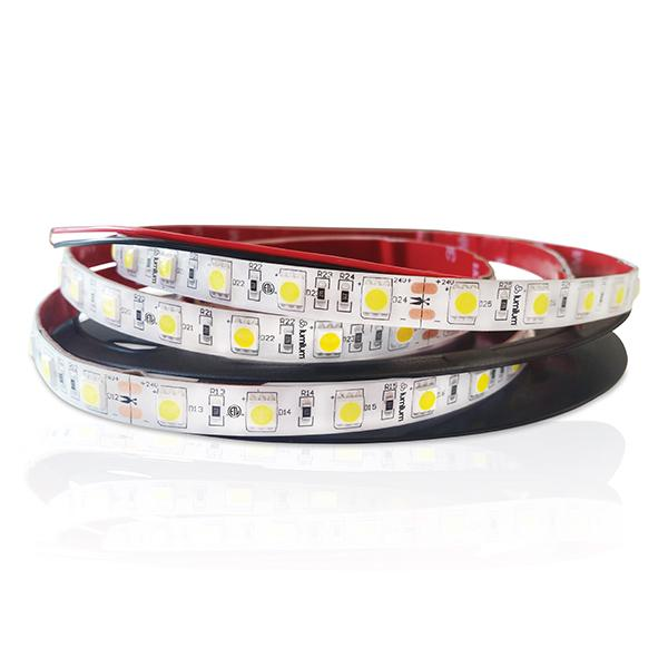 red tape backed led strip light with yellow chips loosely wrapped on black reel