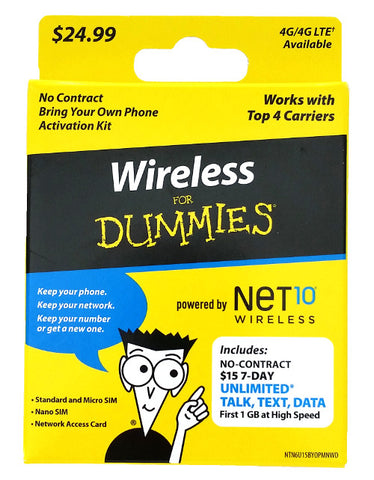Wireless for Dummies Powered by Net10 Sim Kit with 7-Days of Unlimited Service - shopcelldeals