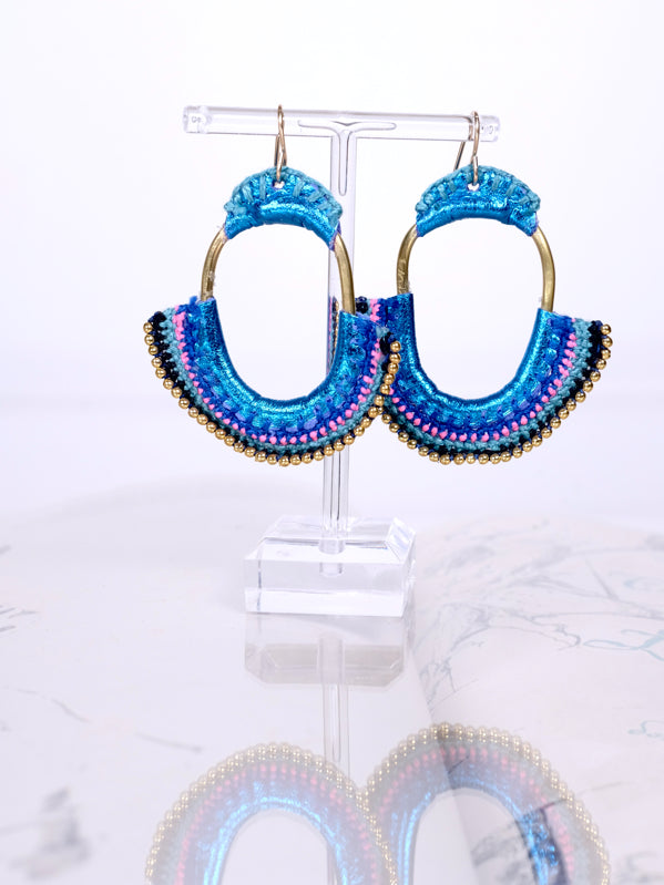 Crochet Disco Blue Earrings