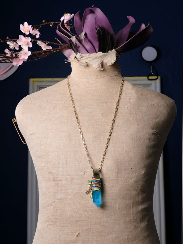 Creativity Rare Blue Quartz Necklace