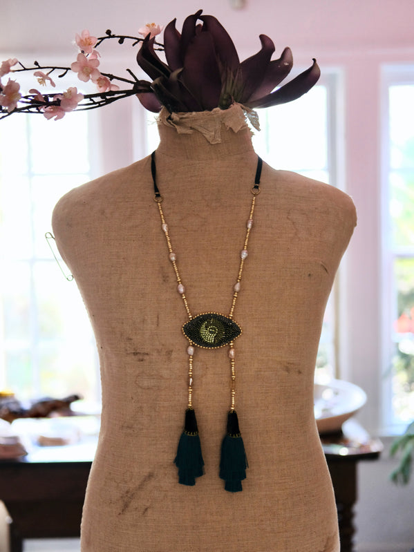 Green Sagacity Tassell Necklace