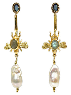 BEE AND PEARL EARRINGS