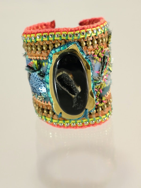 De Petra leather cuff. Art jewelry