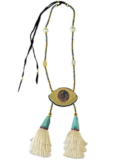 CELESTIAL EYE TURQUOISE TASSELS NECKLACE