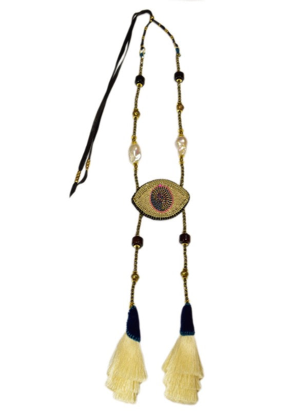 CELESTIAL EYE IVORY TASSELS NECKLACE