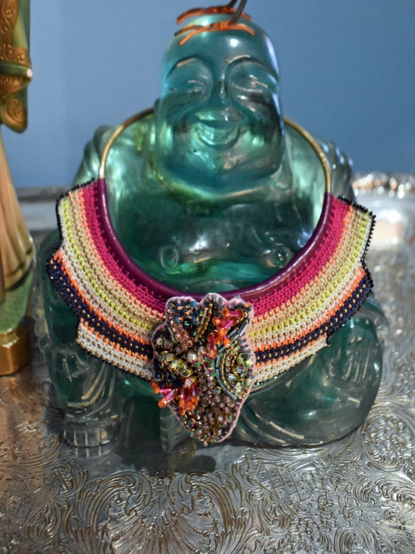 happy buddha crochet necklace