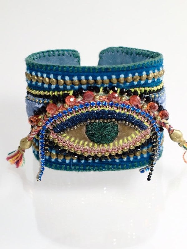 COSMIC EYE EMBROIDERY BLUE LEATHER
