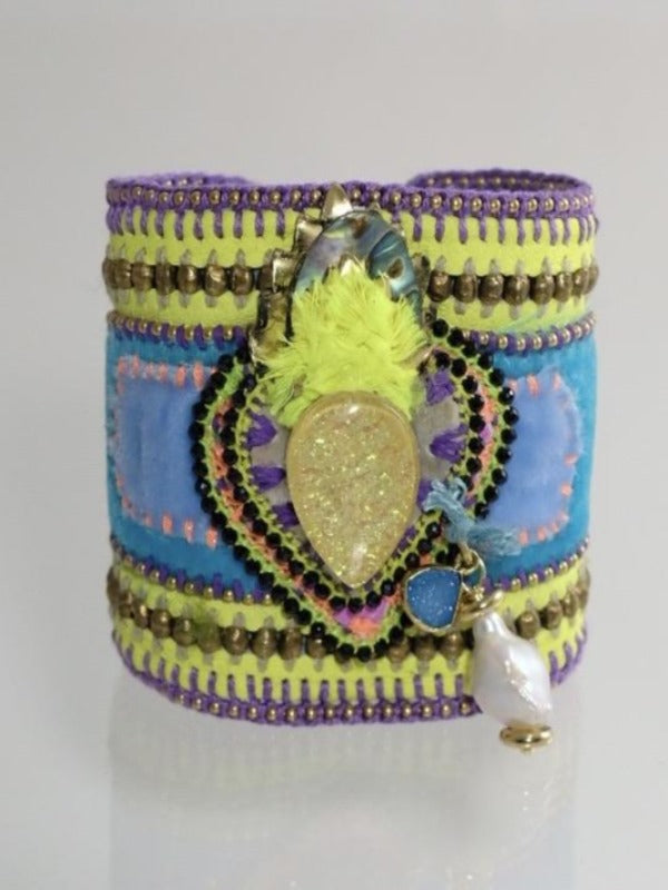 Neon Espiritu Sacred Heart leather cuff bracelet