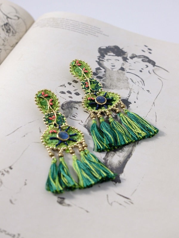 YUCATAN GREEN VELVET EARRINGS