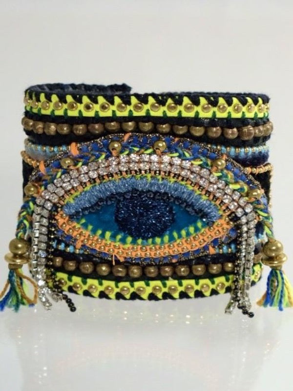 COSMIC EYE EMBROIDERY BLACK LEATHER BRACELET