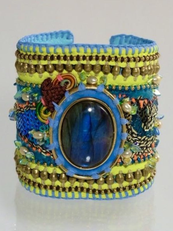 Neon is the new happiness labradorite leather cuff