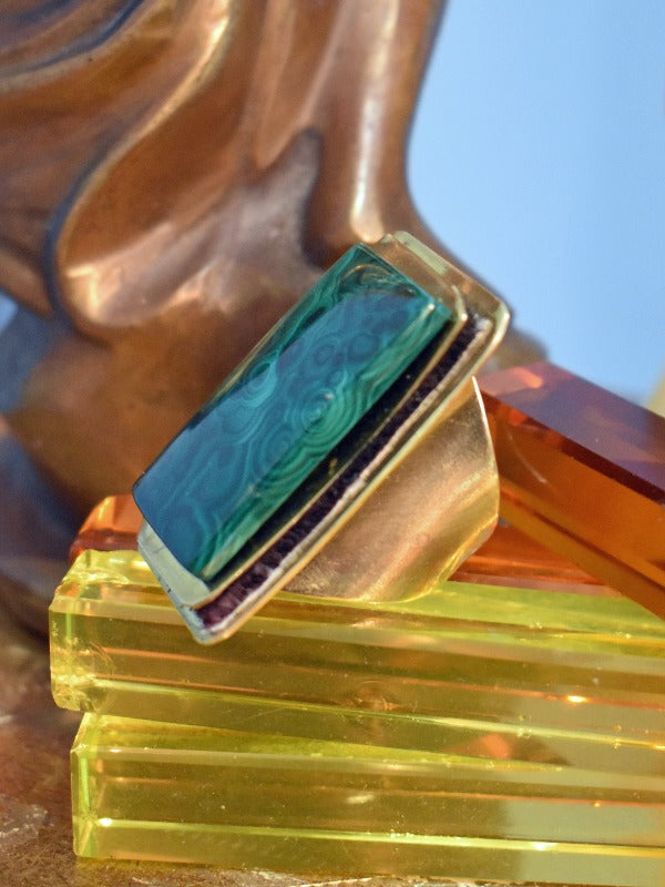 De Petra Hand made Brass ring malachite stone