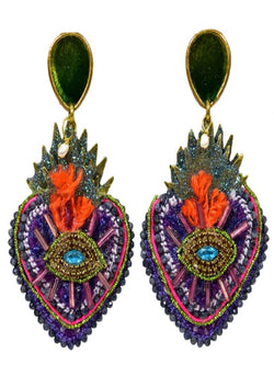 CORAZON SAGRADO PURPLE EARRINGS