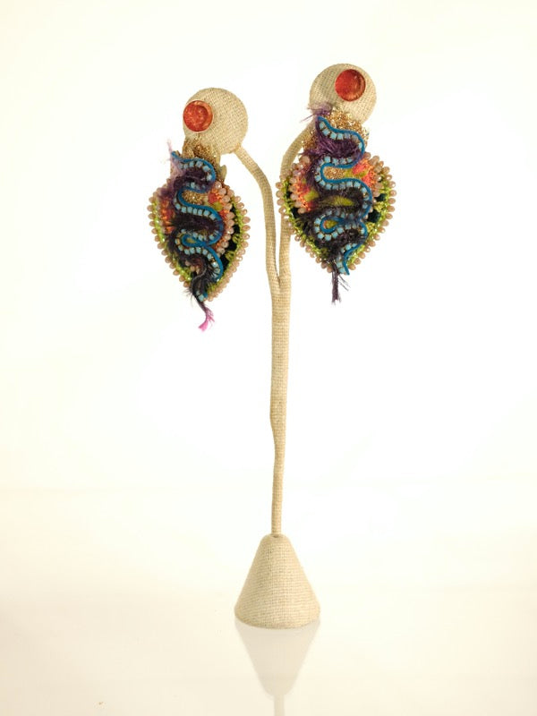 Snake form hand made earrings by De Petra