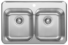 "Excalibur EDL2031/8/1 1-Hole 2 Bowl Drop-In Sink 8"" Deep - Stainless Steel"