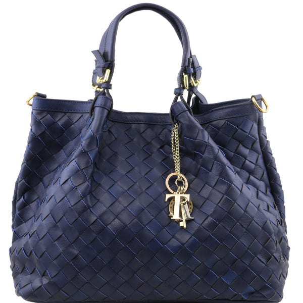 Copy of Sascha soft woven large leather bag in Blue