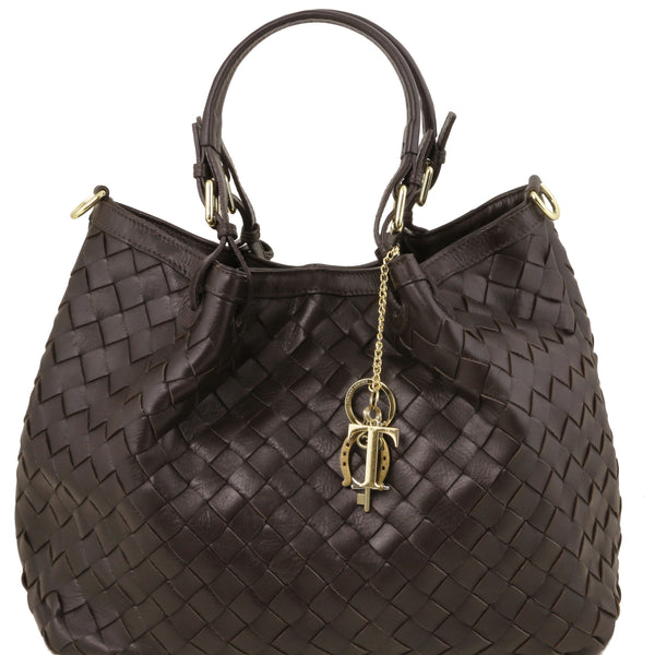 Sascha soft woven large leather bag in Dark Brown