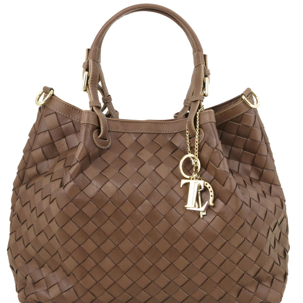 Sascha soft woven large leather bag in Dark Taupe