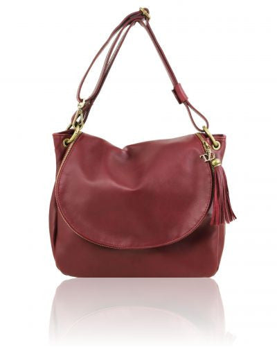 Sally, a soft Bordeaux leather shoulder bag with flap