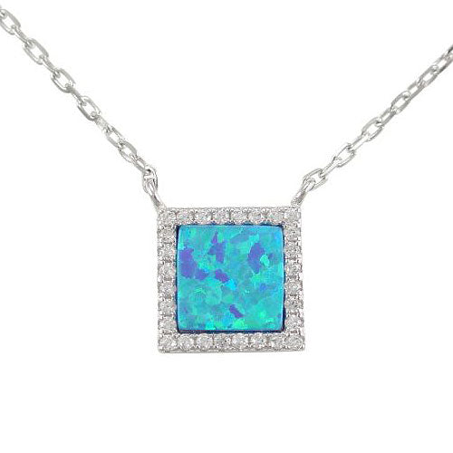 Sterling Silver Synthetic Opal 45cm Necklet