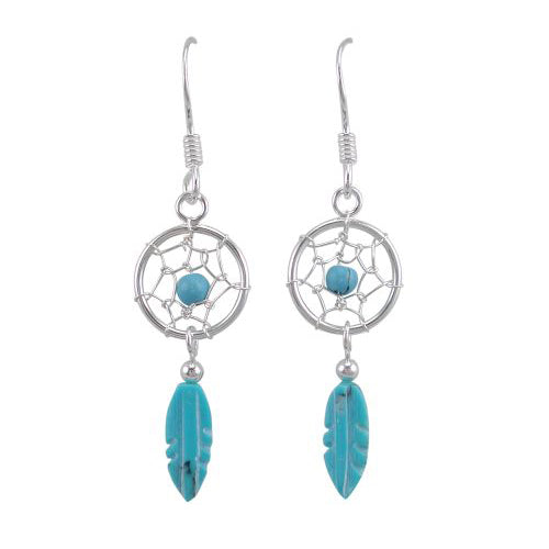 Sterling Silver 25mm Turquoise Dream-Catcher Hooks