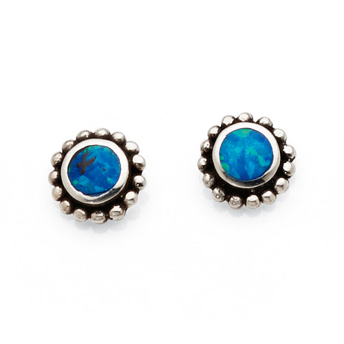 Sterling Silver Synthetic Opal Stud