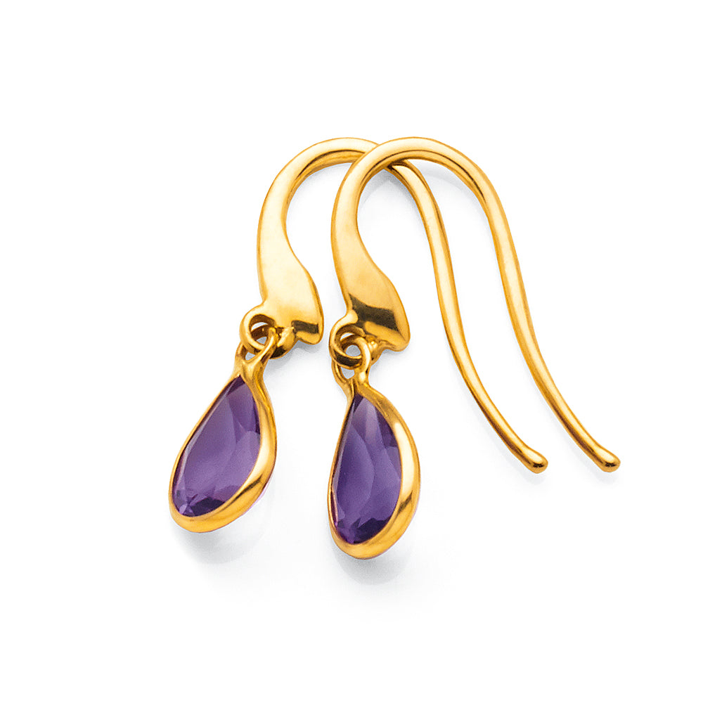 9ct Yellow Gold Amethyst Hook Earrings