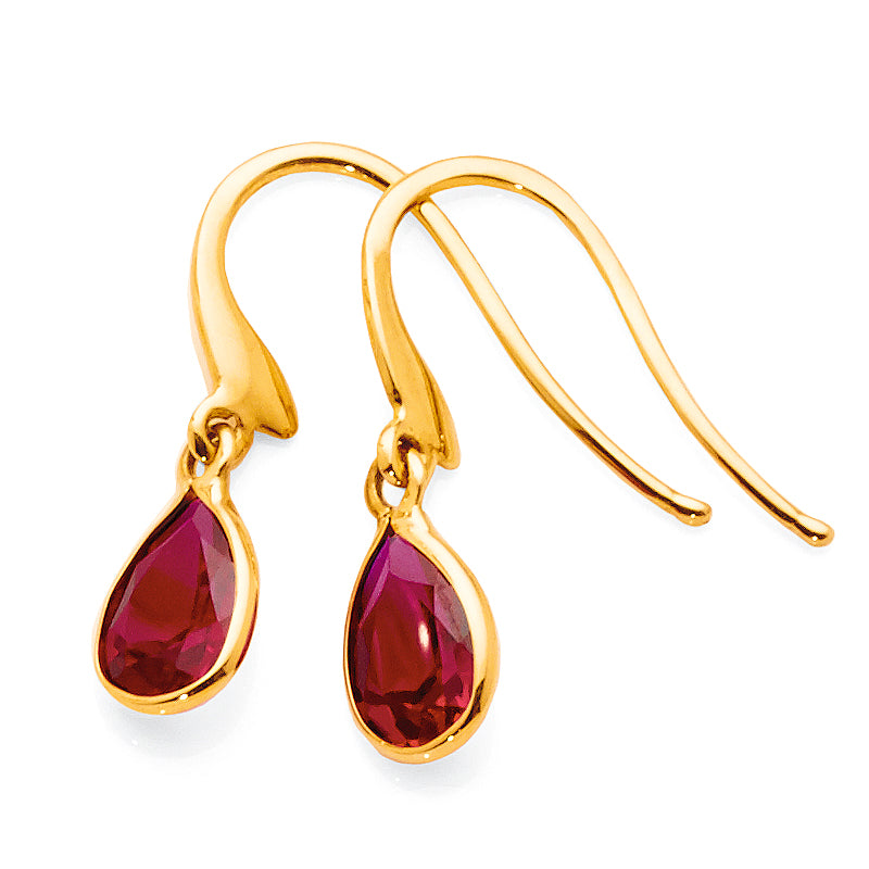 9ct Yellow Gold Created Ruby Hooks