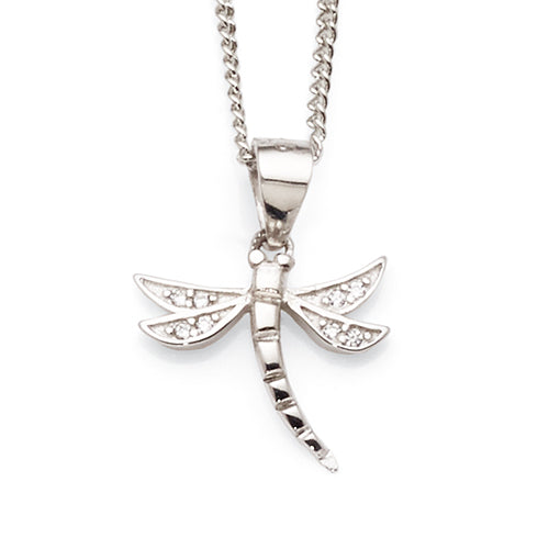 Sterling Cubic Zirconia Dragonfly Pendant