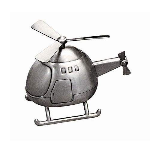 Pewter-Look Helicopter Money Box