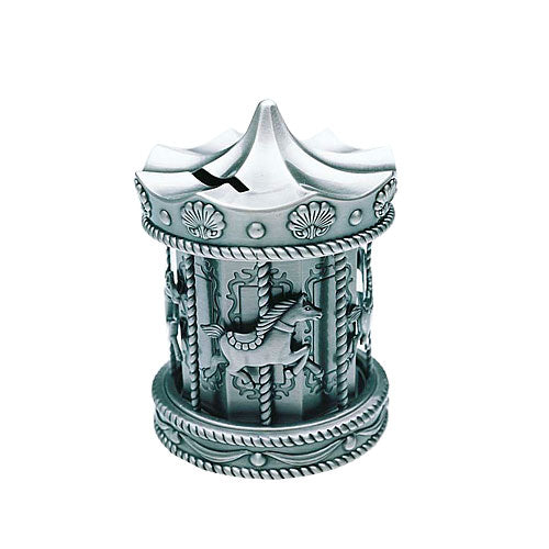 Pewter-Look Carousel Money Box