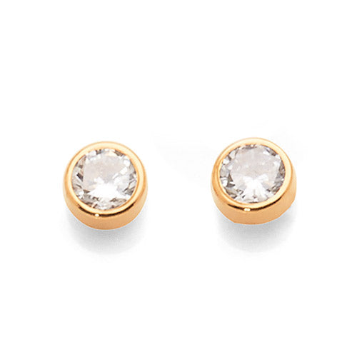 9ct Yellow Gold 4mm Cubic Zirconia Studs
