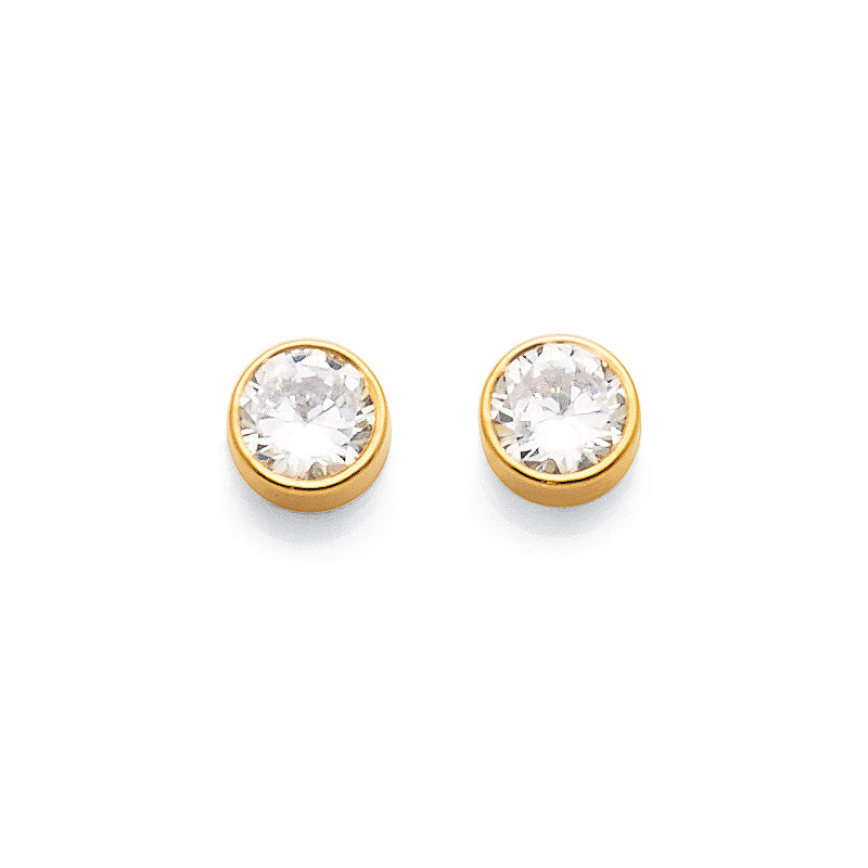 9ct Yellow Gold 5mm Cubic Zirconia Earrings