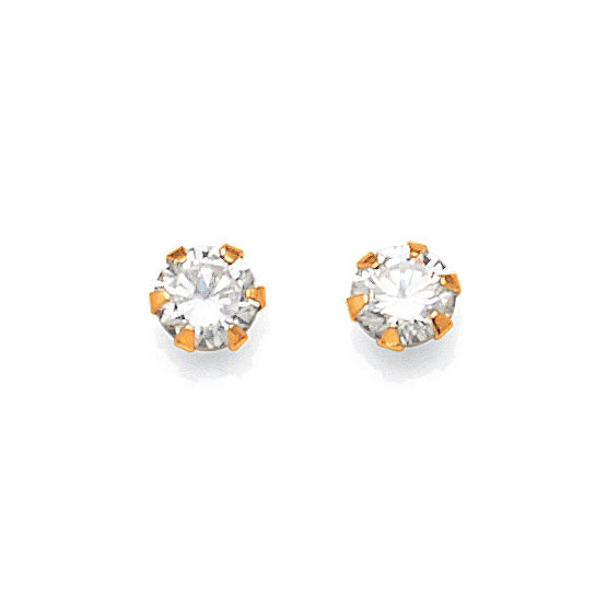 9ct Yellow Gold Cubic Zirconia 4mm Studs