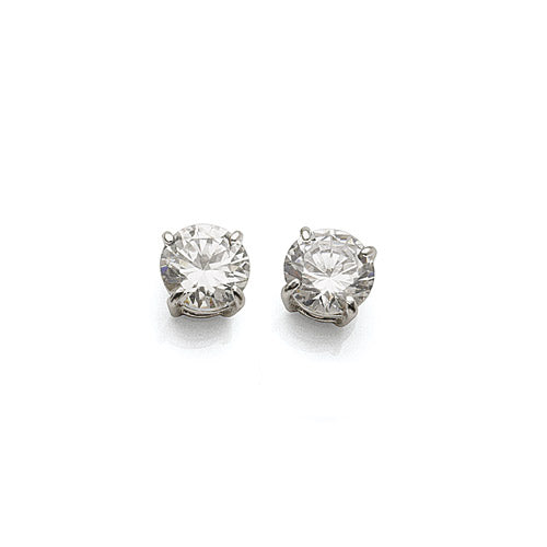Sterling Silver Cubic Zirconia 7mm Studs