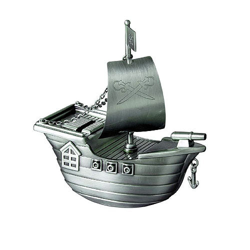 Pewter-Look Pirate Ship Money Box