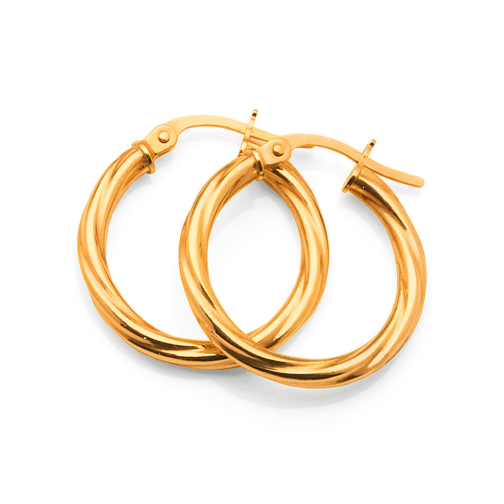 9ct Yellow Gold Twist Hoops