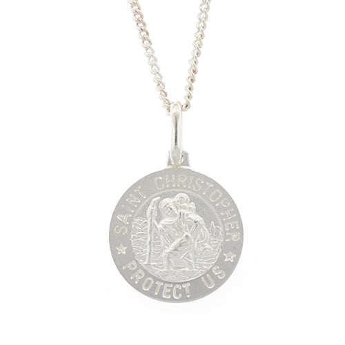 Sterling Silver 15mm Round St Christopher Pendant