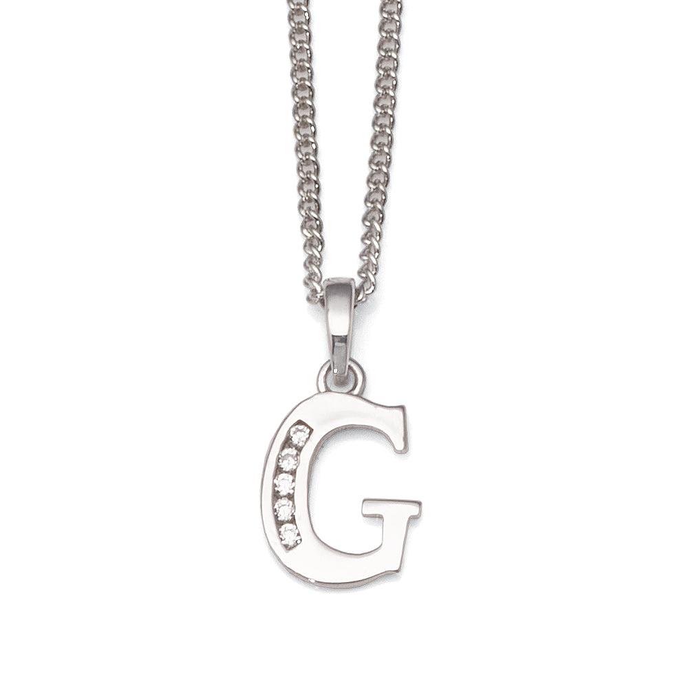 9ct White Gold Cubic Zirconia 'G' Initial Pendant