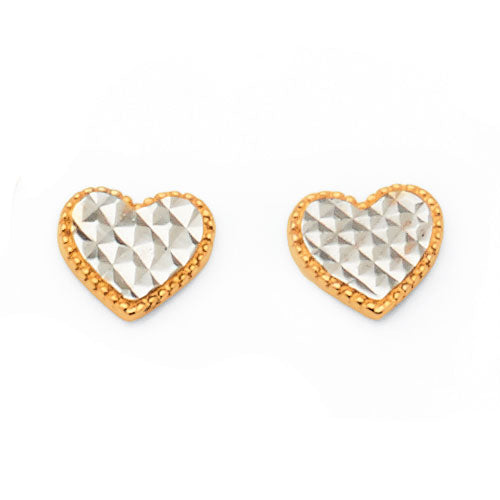 9ct Yellow & White Gold 2-tone 7mm Heart Studs