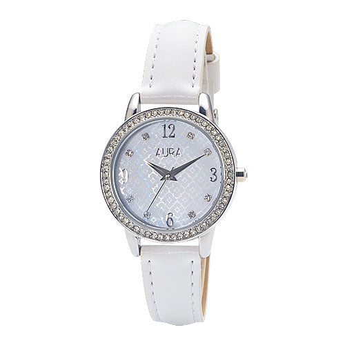Aura White Crystal Dress Watch 129622