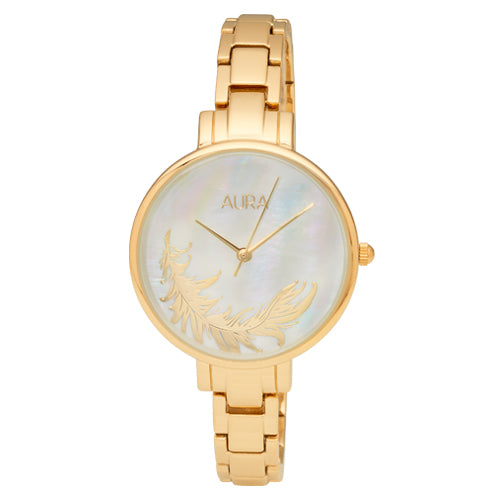 Aura Gold-Tone Feather Watch 142932