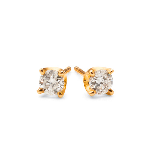 9ct Yellow Gold Diamond Stud Earrings TW 1/2ct