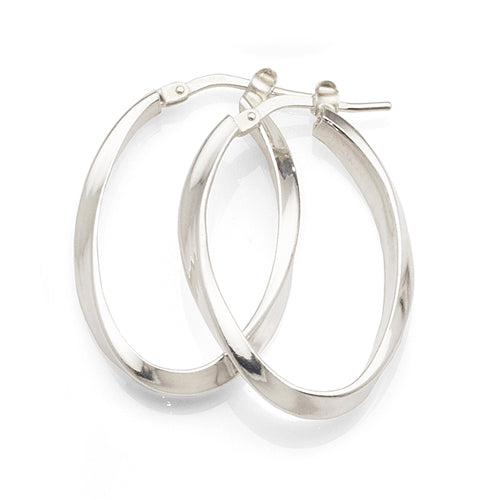 Sterling Silver 25mm Oval Twist Hoops